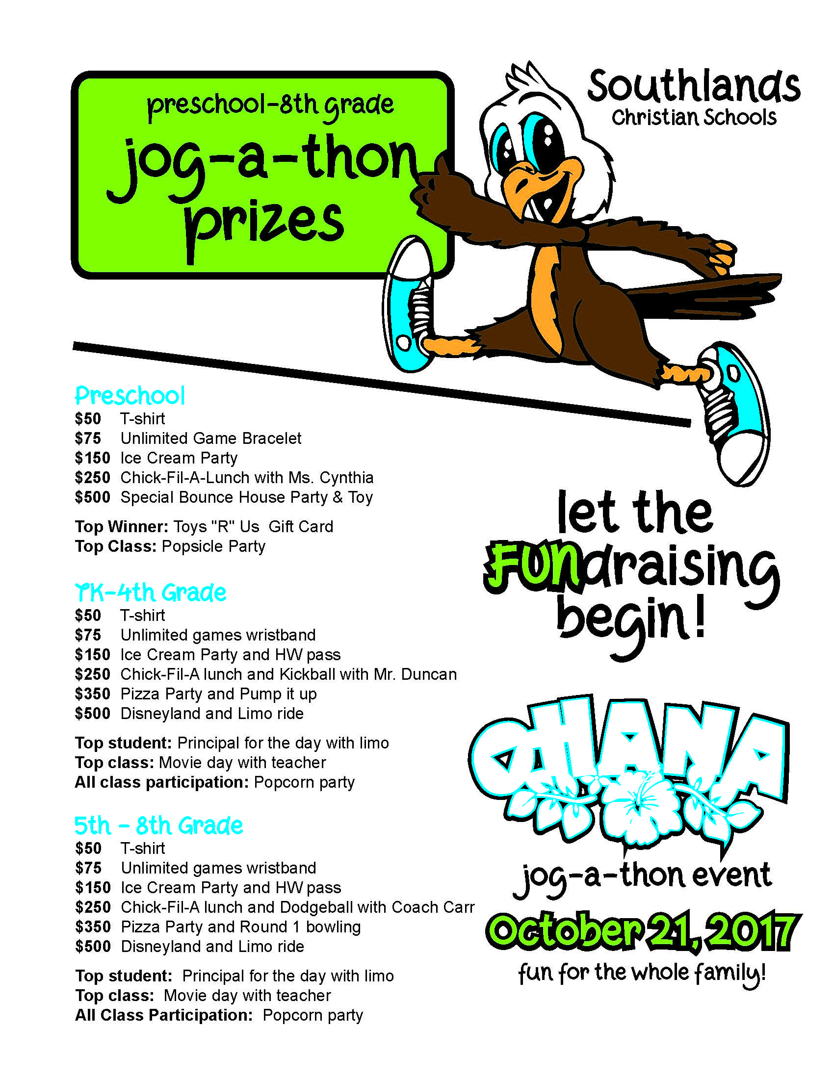 Jog-A-Thon Weekly Drawing & Prizes